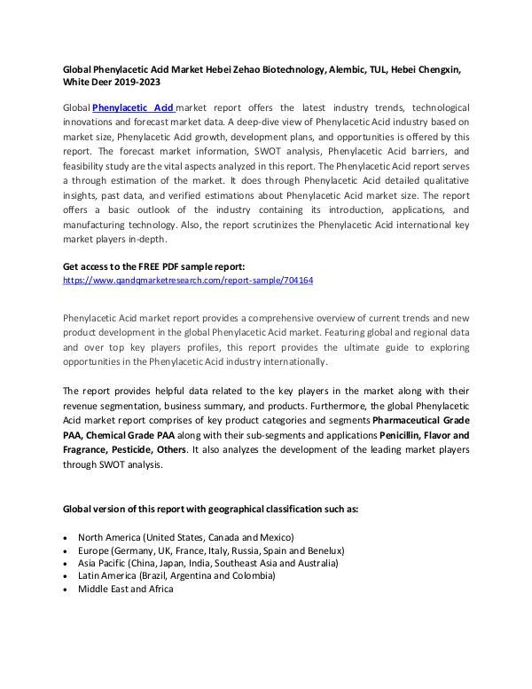 Global Phenylacetic Acid Market Hebei Zehao Biotechnology, Alembic, T Phenylacetic Acid