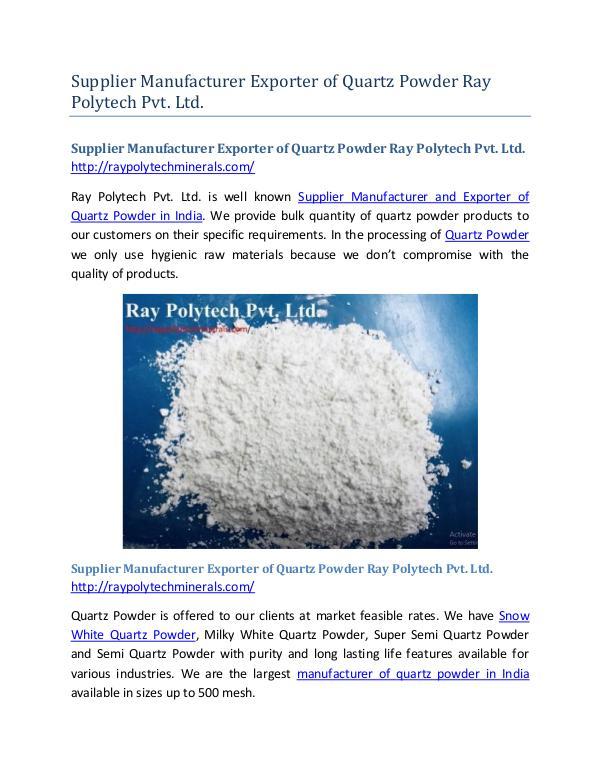 Supplier Manufacturer Exporter of Quartz Powder Ray Polytech Pvt. Ltd Supplier Manufacturer Exporter of Quartz Powder Ra