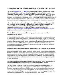 Enterprise WLAN Market worth 21.10 Billion USD by 2021