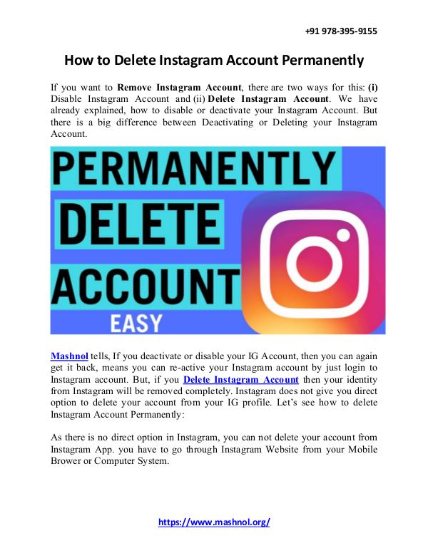 How To Remove Mobile Number From Instagram Account How To Delete Instagram Account Permanently
