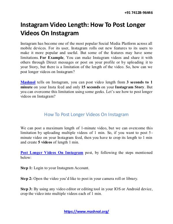Instagram Video Length: How To Post Longer Videos