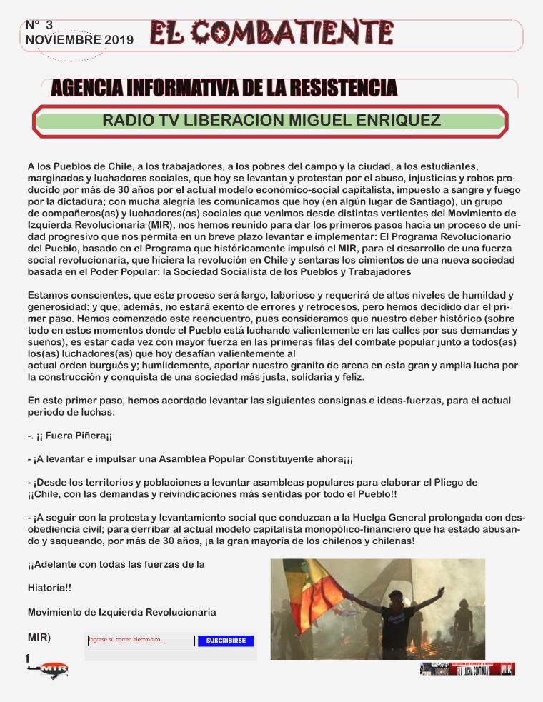 Chile estallido social de octubre Noviembre N° 3