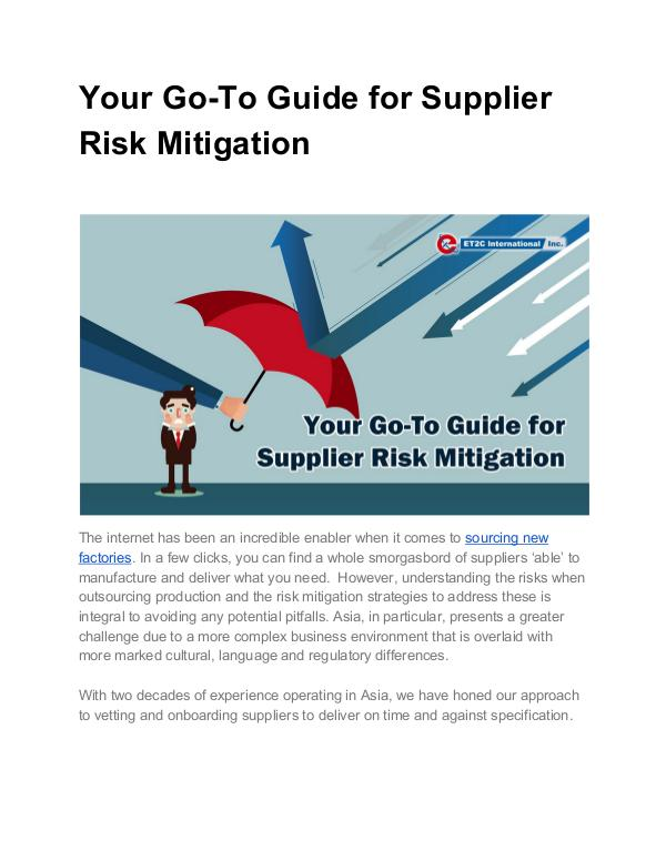 Top 5 Tips for Choosing a Product Sourcing Company Your Go-To Guide for Supplier Risk Mitigation