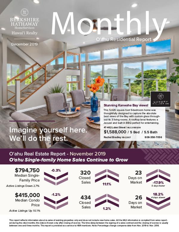 Monthly Oʻahu Residential Report December 2019