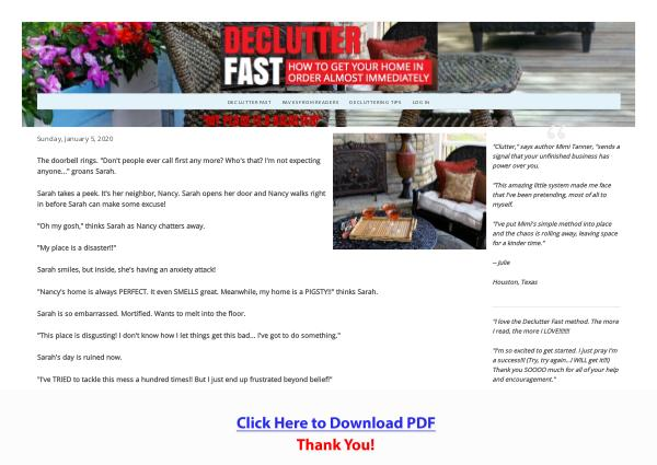 Declutter Fast - How To Get Your Home In Order Almost Immediately PDF