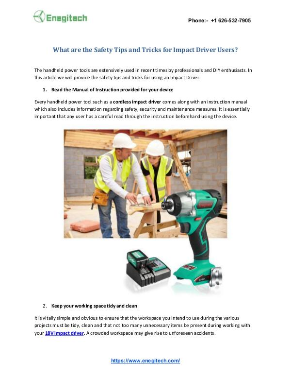 Get a New Life to Your Laptop with Enegitech Replacement Batteries? What are the Safety Tips & Tricks of Impact Driver