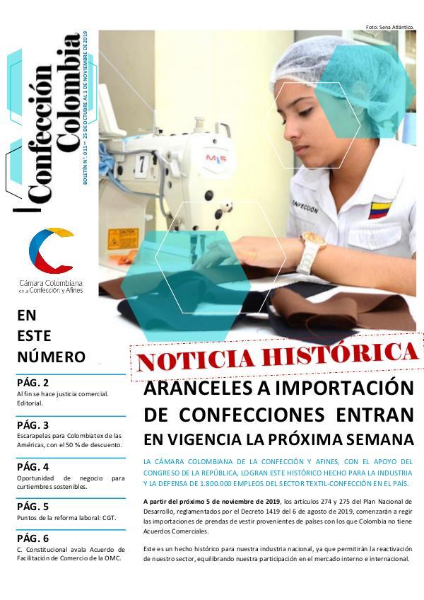 Boletín Confección Colombia - 011 - 1 de noviembre de 2019
