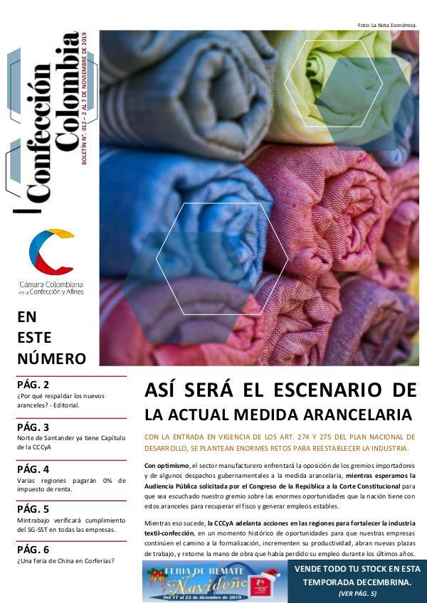 Boletín Confección Colombia - 012 - 7 de noviembre de 2019