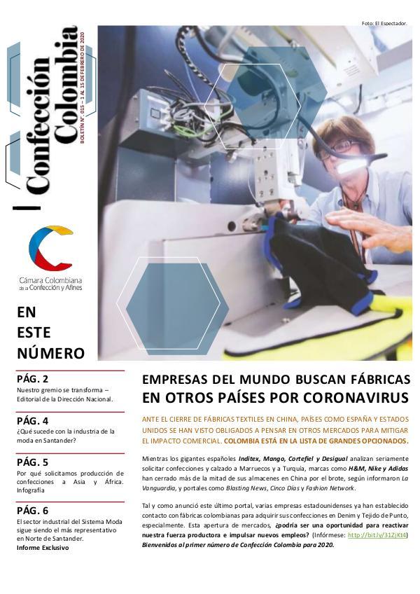 Boletín Confección Colombia 015 - 1 al 15 de febrero 2020
