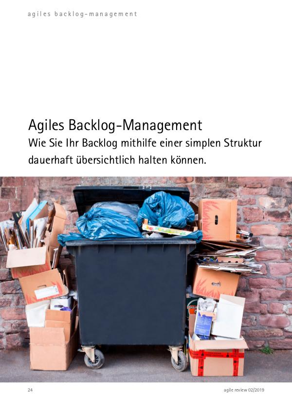 Agiles Backlog-Management agile review 2019/2 Werft Ballast ab!