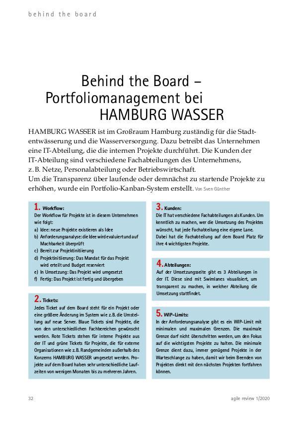 agile review 2020/1 Agilität aufgleisen! Behind the Board: Hamburg Wasser