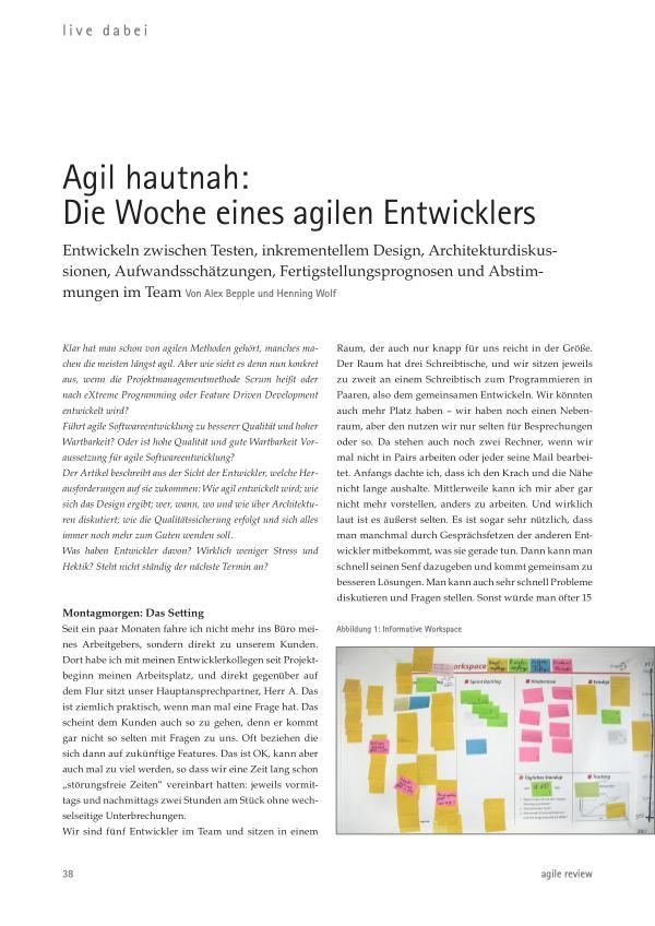 Agil hautnah: Die Woche eines agilen Entwicklers