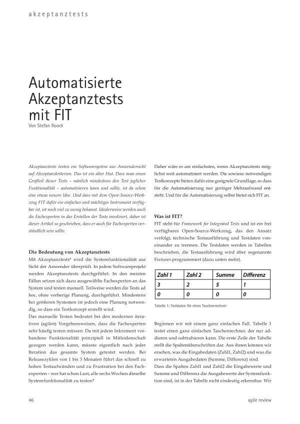 Feedback ist entscheidend! (2010/1) Automatisierte Akzeptanztests mit FIT