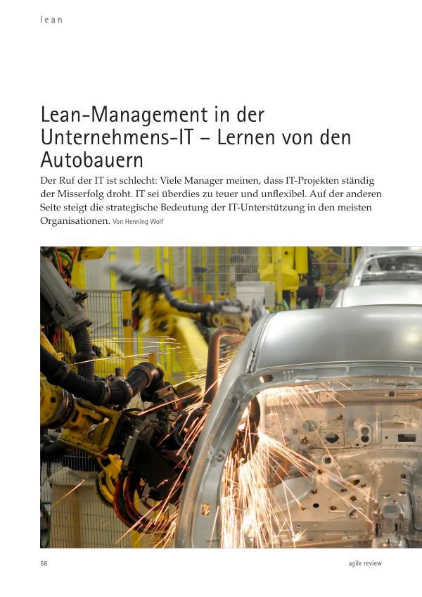 Feedback ist entscheidend! (2010/1) Lean-Management in der Unternehmens-IT – Lernen vo