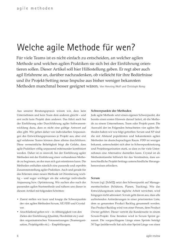 Welche agile Methode für wen?