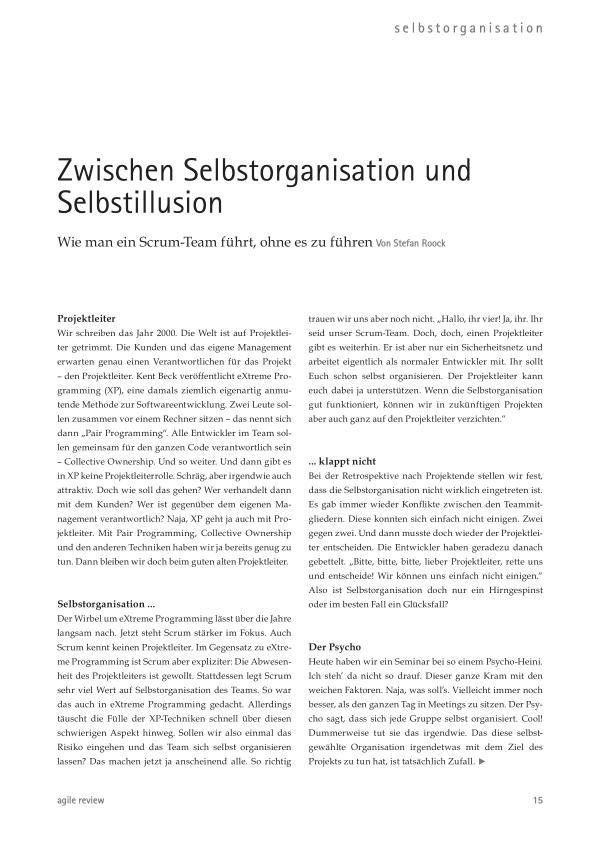 Feedback ist entscheidend! (2010/1) Zwischen Selbstorganisation und Selbstillusion