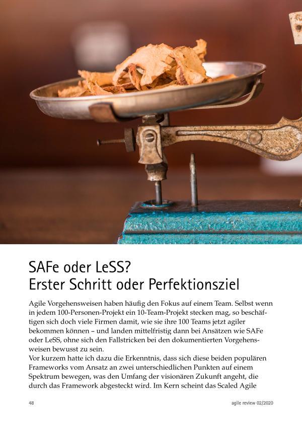 Unterschied zwischen LeSS und SAFe Agil durch die Krise! (2020/2)