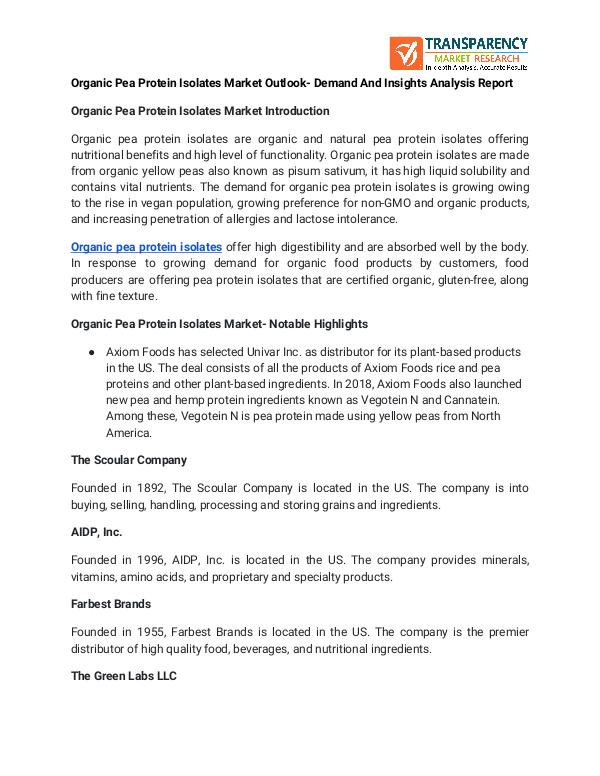 Organic Pea Protein Isolates Market Outlook- Demand And Insights Anal Organic Pea Protein Isolates Market