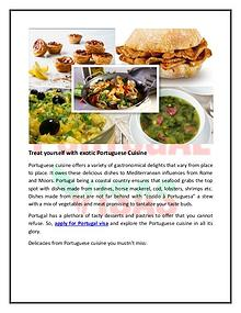 Treat yourself with exotic Portuguese Cuisine