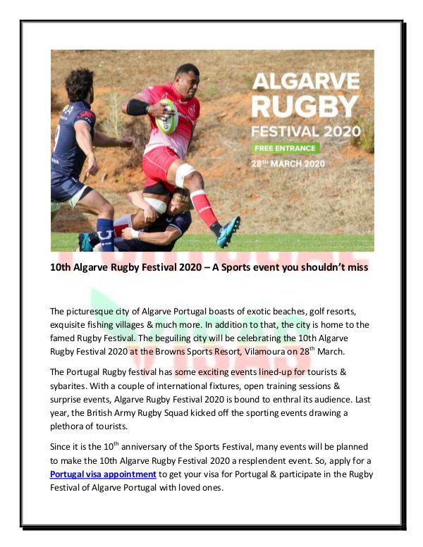 10th Algarve Rugby Festival 2020 – A Sports event you shouldn't miss 10th Algarve Rugby Festival 2020