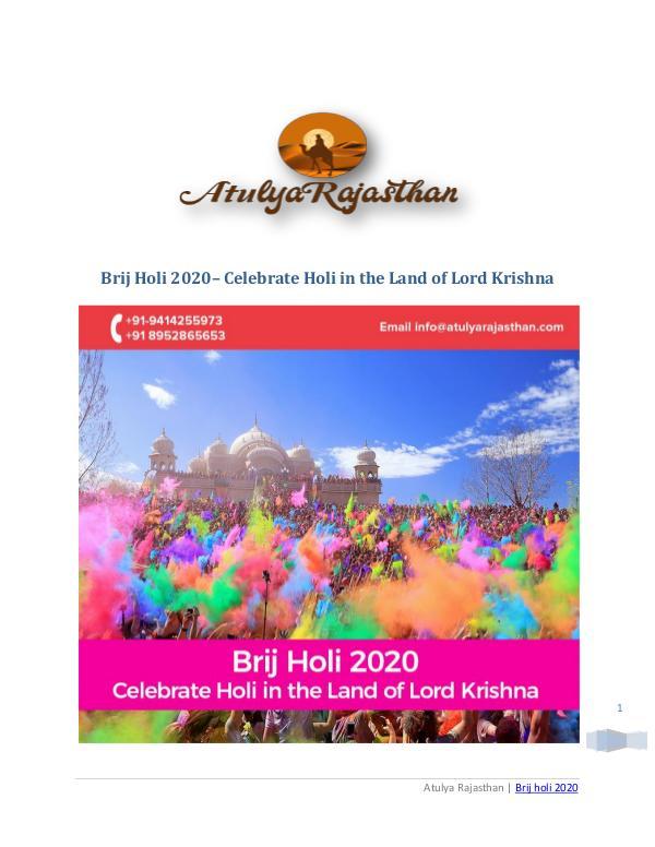 Brij Holi 2020   Enjoy Grand Holi Revelries with loved ones Brij holi 2020