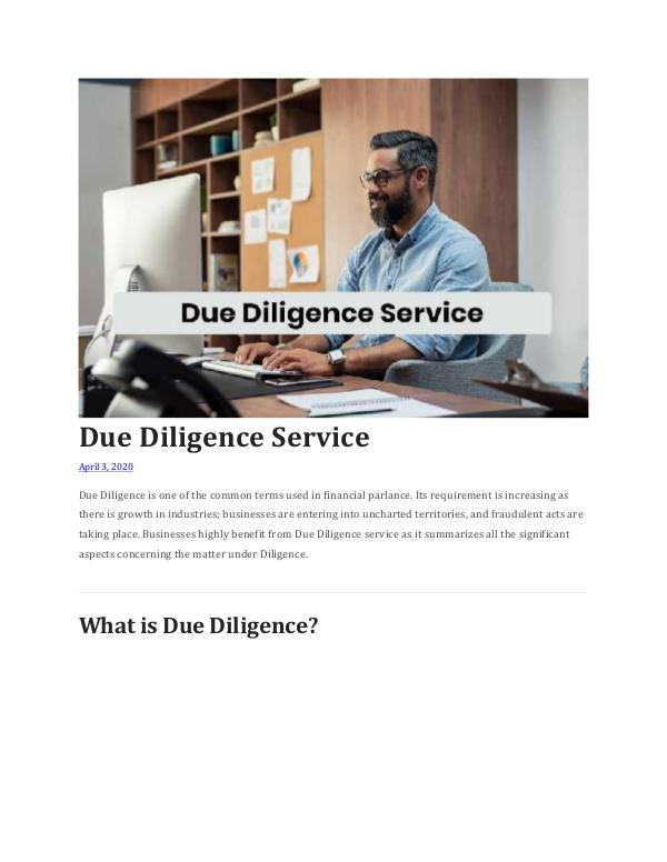 Due Diligence Service Due Diligence Service