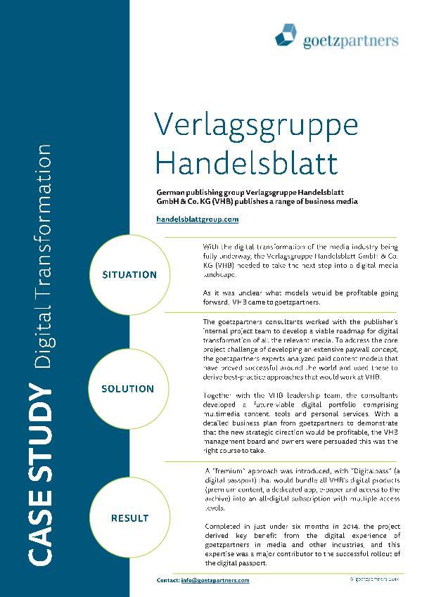 Client Case: Verlagsgruppe Handelsblatt