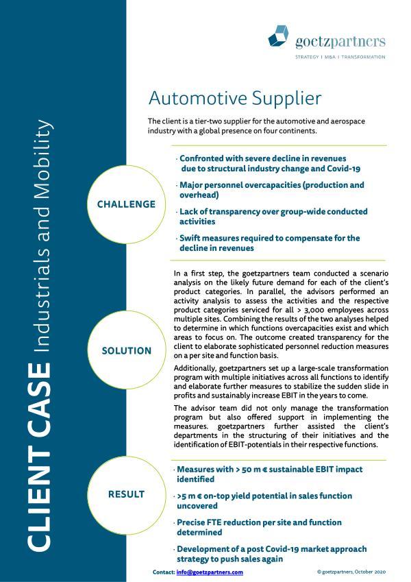 Client Case: Automotive Supplier