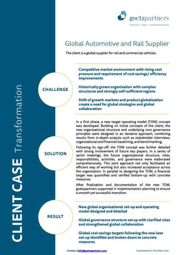 Client case: Global automotive and rail supplier