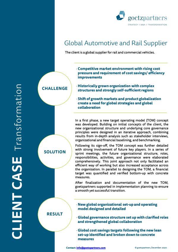 Client case: Global automotive and rail supplier