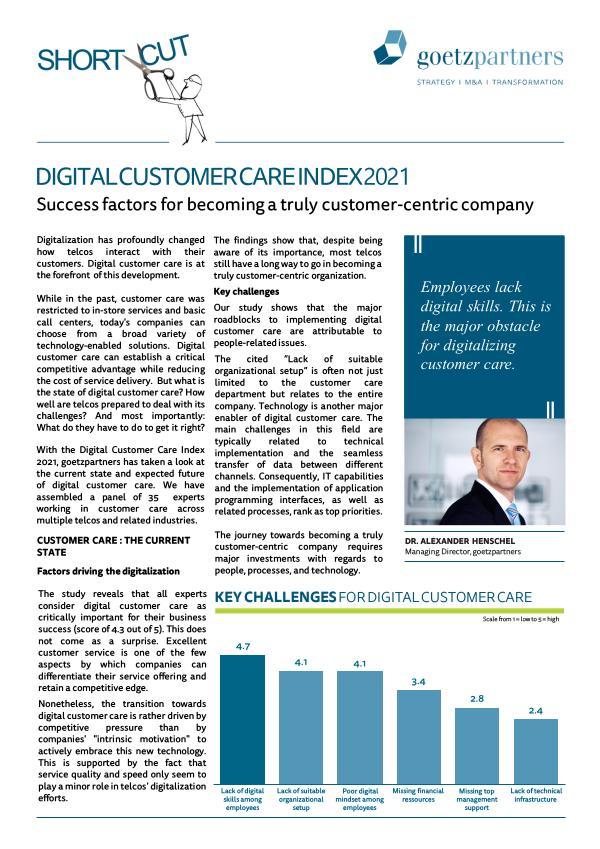 ShortCut: Digital Customer Care Index 2021