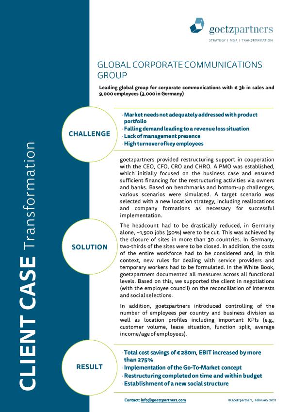 Client case: Global corporate communications group