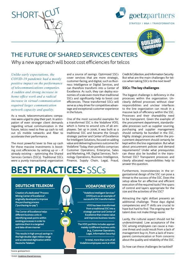 ShortCut: The future of Shared Services Centers