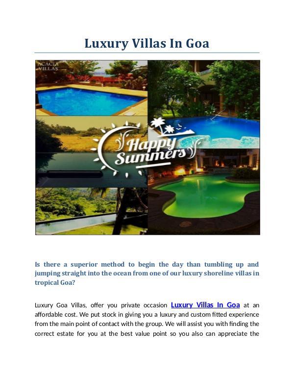 Luxury Villas, Pool Villas On Rent Goa, North Goa | Luxury Villas In Luxury Villas In Goa