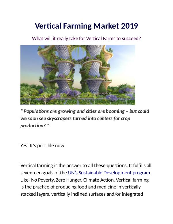 Insights: Vertical Farming Market 2019: What's Next?