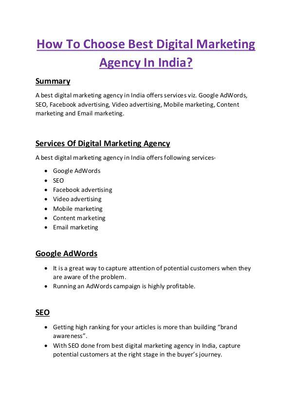 How To Choose Best Digital Marketing Agency In India? How To Choose Best Digital Marketing Agency In Ind