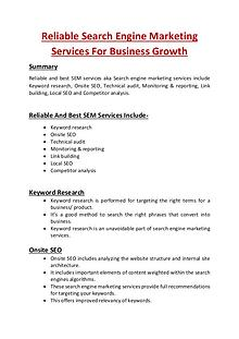Reliable Search Engine Marketing Services For Business Growth