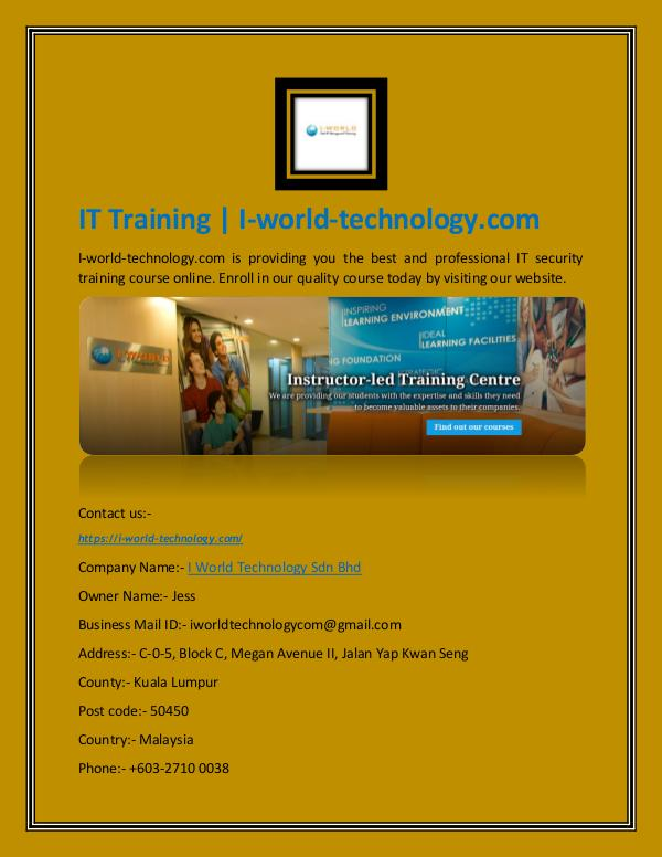 IT Training | I-world-technology.com IT Training